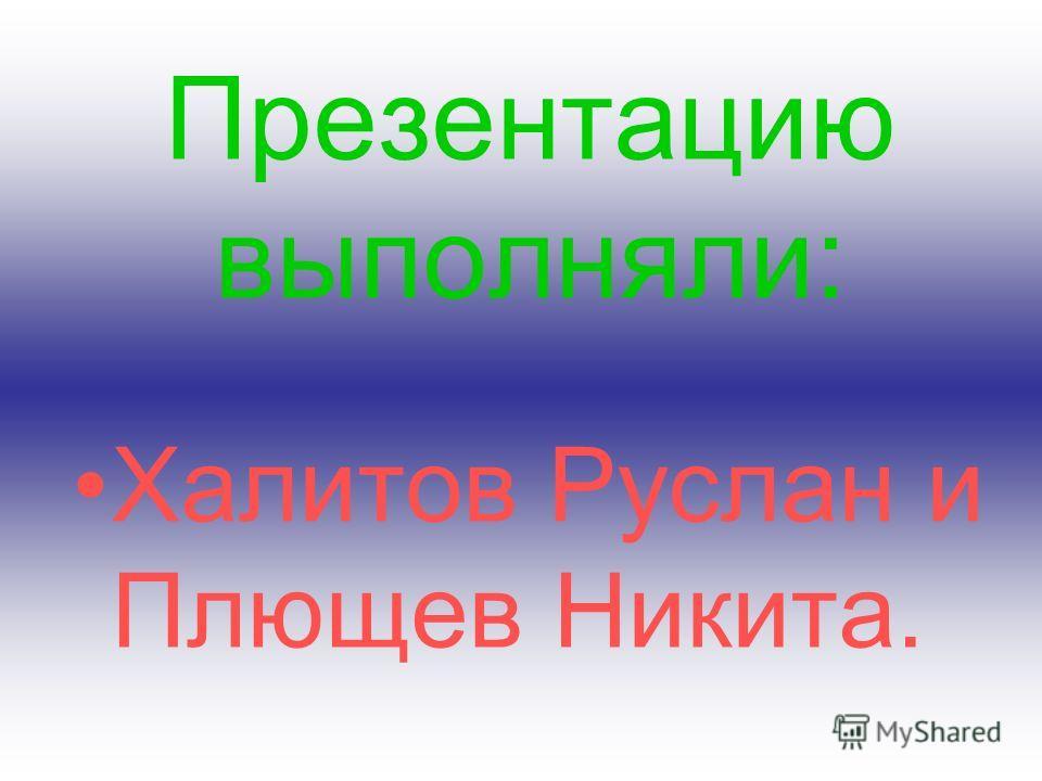 Презентацию выполняли: Халитов Руслан и Плющев Никита.
