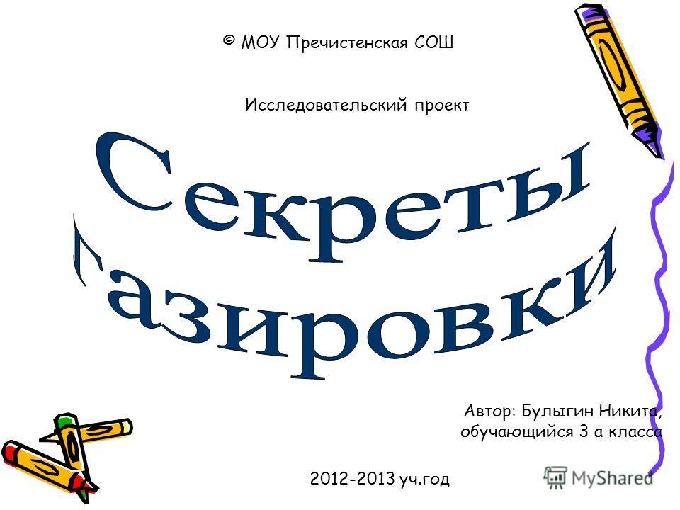 © МОУ Пречистенская СОШ Автор: Булыгин Никита, обучающийся 3 а класса 2012-2013 уч.год Исследовательский проект