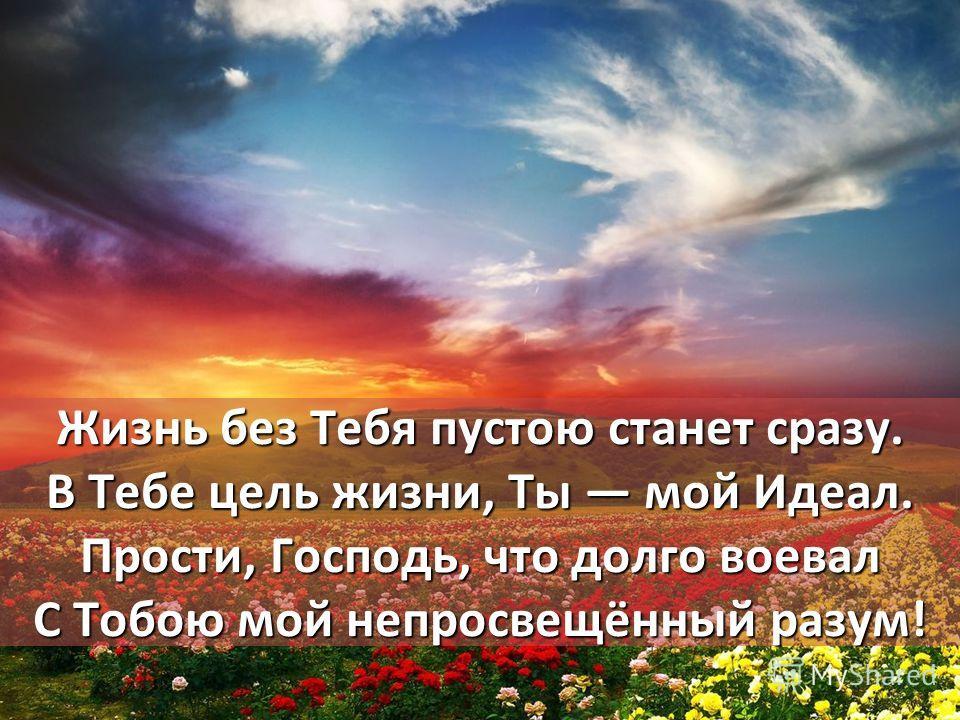 Жизнь без Тебя пустою станет сразу. В Тебе цель жизни, Ты мой Идеал. Прости, Господь, что долго воевал С Тобою мой непросвещённый разум!