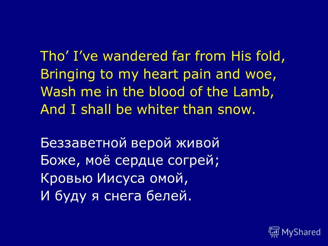 Tho Ive wandered far from His fold, Bringing to my heart pain and woe, Wash me in the blood of the Lamb, And I shall be whiter than snow. Беззаветной верой живой Боже, моё сердце согрей; Кровью Иисуса омой, И буду я снега белей.