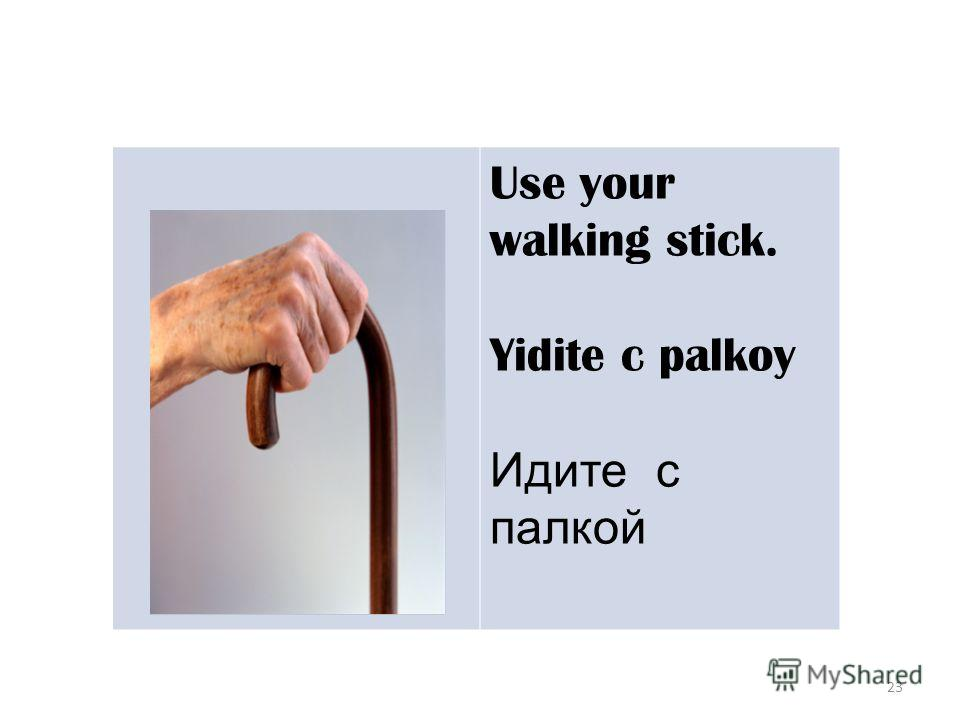 23 Use your walking stick. Yidite c palkoy Идите с палкой