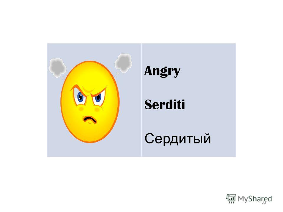 33 Angry Serditi Сердитый