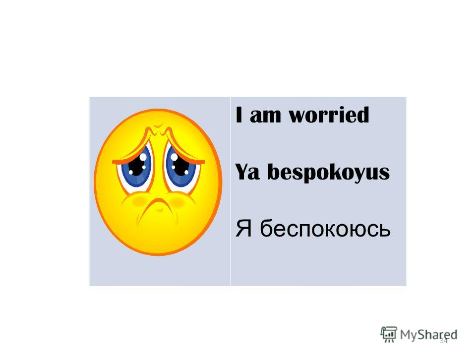 34 I am worried Ya bespokoyus Я беспокоюсь