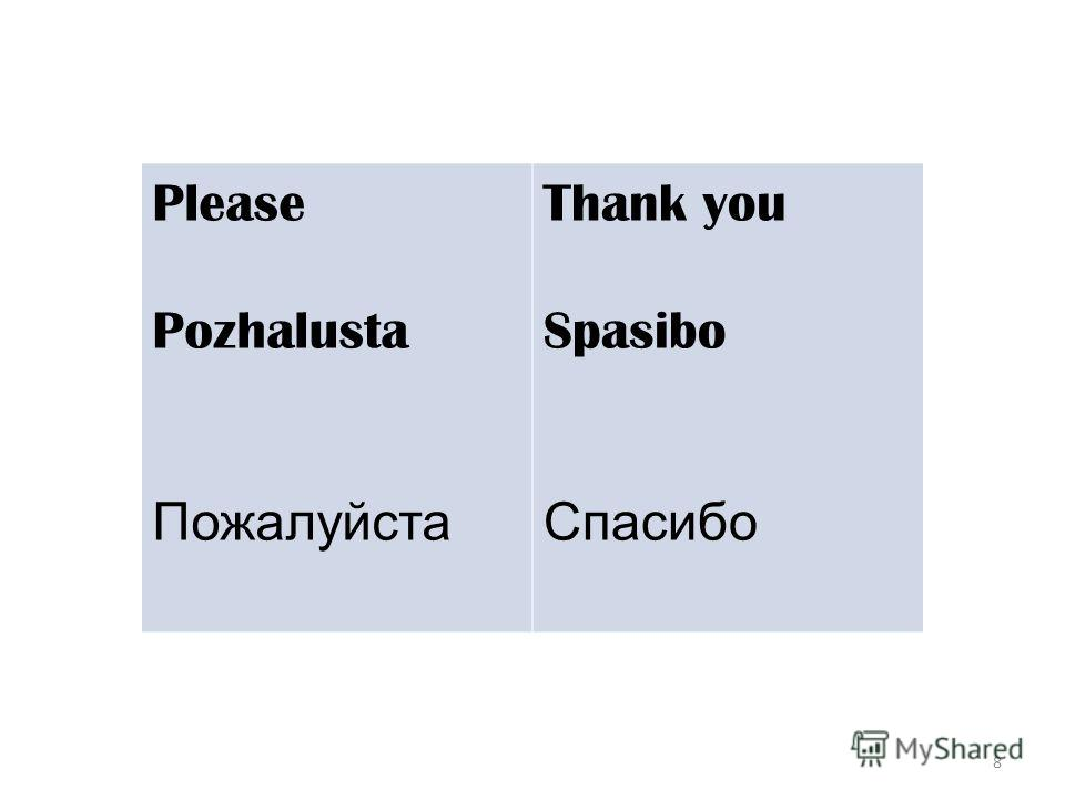 8 Please Pozhalusta Пожалуйста Thank you Spasibo Спасибо