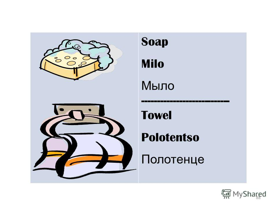 88 Soap Milo Мыло ---------------------------- Towel Polotentso Полотенце