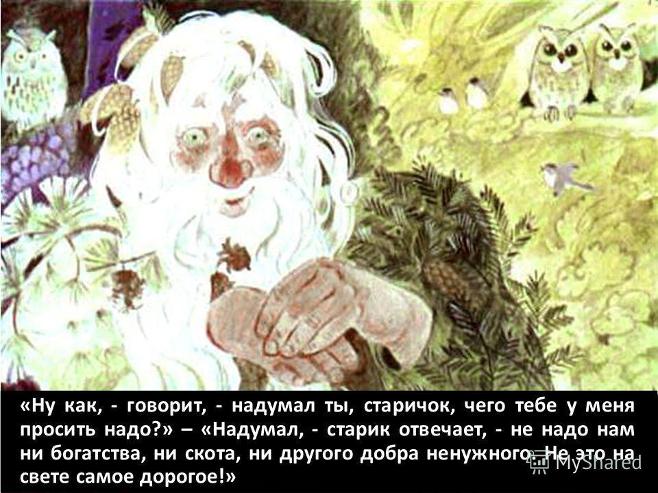 «Ну как, - говорит, - надумал ты, старичок, чего тебе у меня просить надо?» – «Надумал, - старик отвечает, - не надо нам ни богатства, ни скота, ни другого добра ненужного. Не это на свете самое дорогое!»