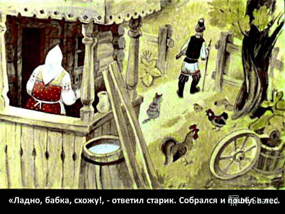 «Ладно, бабка, схожу!, - ответил старик. Собрался и пошёл в лес.