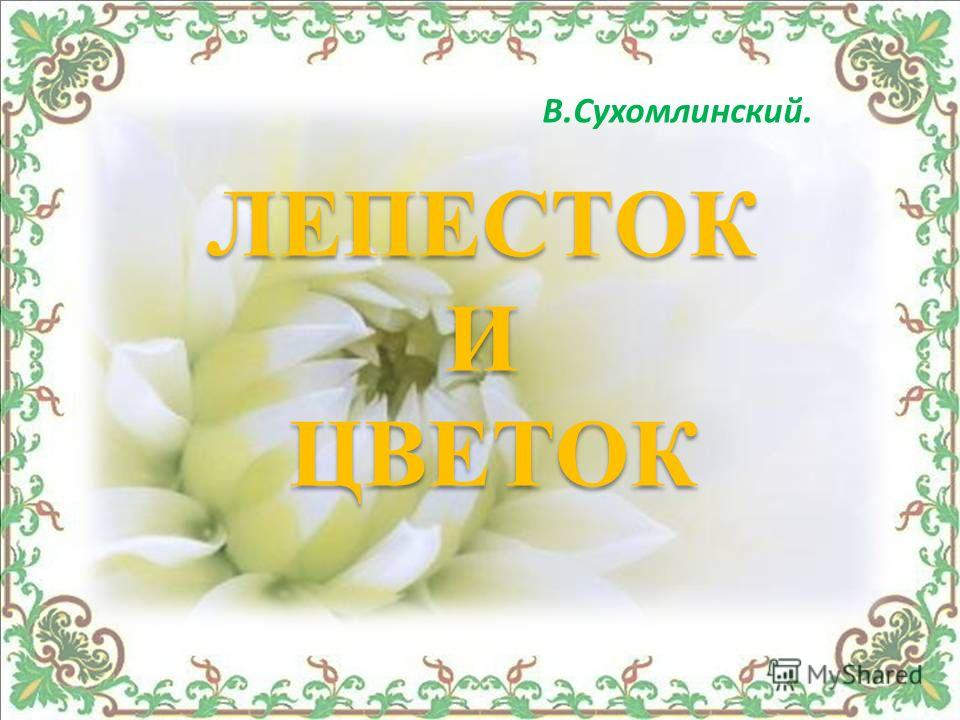 В.Сухомлинский. ЛЕПЕСТОК И ЦВЕТОК ЛЕПЕСТОК И ЦВЕТОК