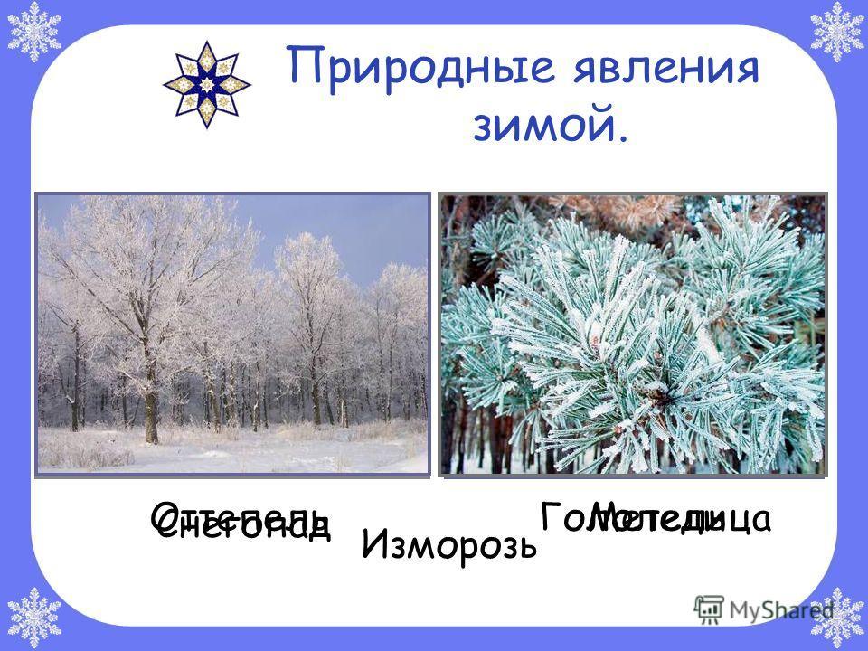 Природные явления зимой. ОттепельГололедица Снегопад Метель Изморозь