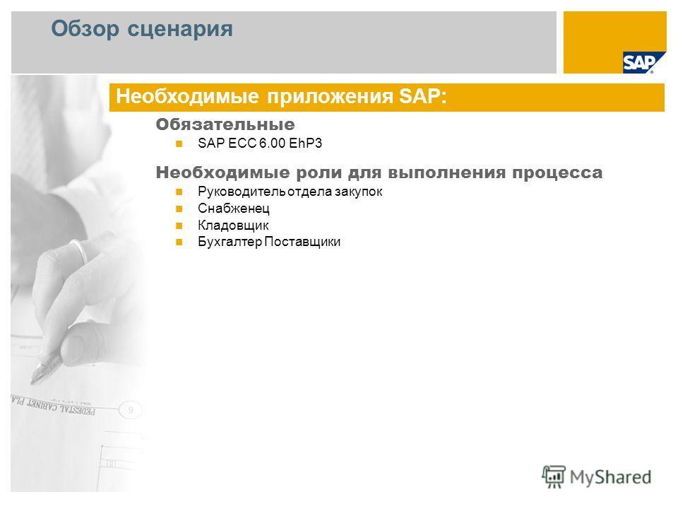 Обзор сценария Обязательные SAP ECC 6.00 EhP3 Необходимые роли для выполнения процесса Руководитель отдела закупок Снабженец Кладовщик Бухгалтер Поставщики Необходимые приложения SAP: