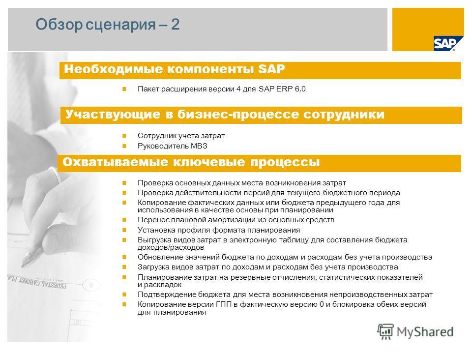 Обзор сценария – 2 Пакет расширения версии 4 для SAP ERP 6.0 Сотрудник учета затрат Руководитель МВЗ Проверка основных данных места возникновения затрат Проверка действительности версий для текущего бюджетного периода Копирование фактических данных и
