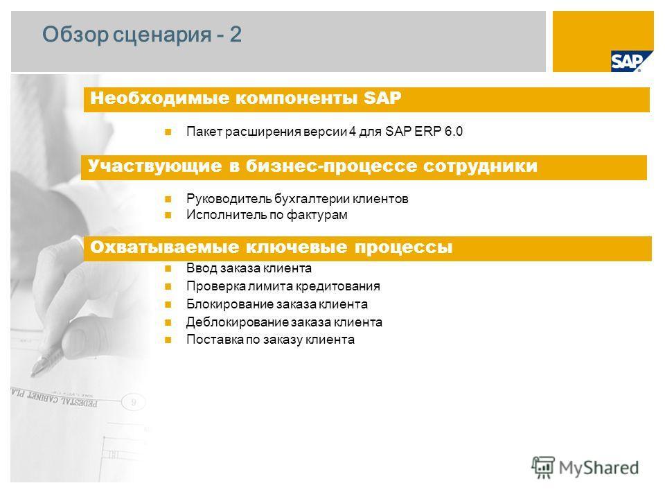 Обзор сценария - 2 Пакет расширения версии 4 для SAP ERP 6.0 Руководитель бухгалтерии клиентов Исполнитель по фактурам Ввод заказа клиента Проверка лимита кредитования Блокирование заказа клиента Деблокирование заказа клиента Поставка по заказу клиен