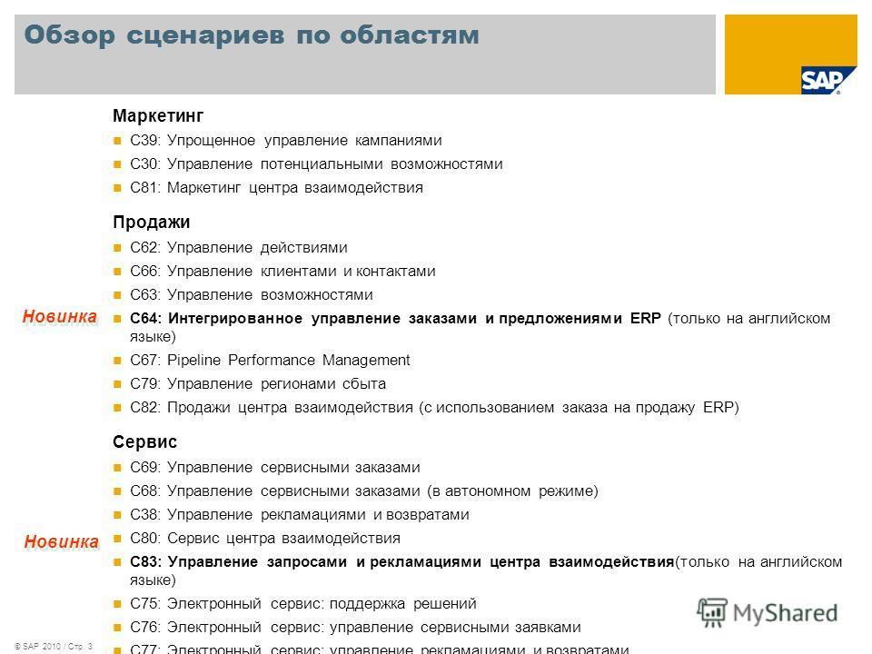 © SAP 2010 / Стр. 3 Обзор сценариев по областям Маркетинг C39: Упрощенное управление кампаниями C30: Управление потенциальными возможностями C81: Маркетинг центра взаимодействия Продажи C62: Управление действиями C66: Управление клиентами и контактам