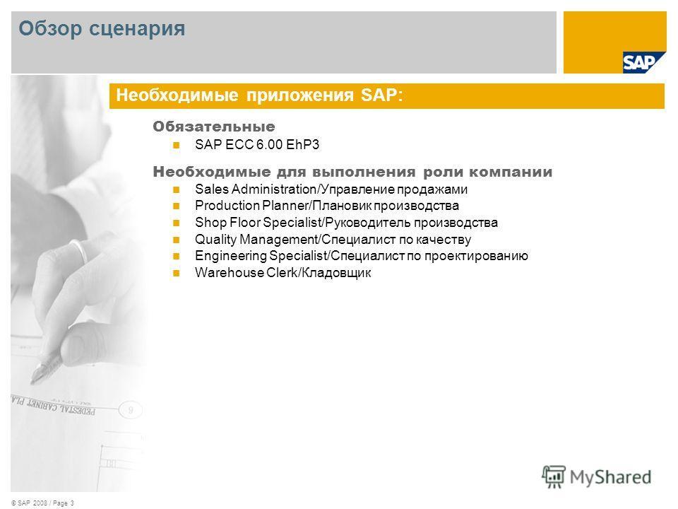© SAP 2008 / Page 3 Обязательные SAP ECC 6.00 EhP3 Необходимые для выполнения роли компании Sales Administration/Управление продажами Production Planner/Плановик производства Shop Floor Specialist/Руководитель производства Quality Management/Специали