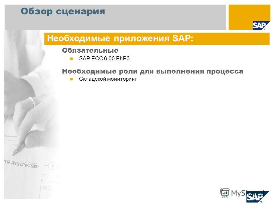 Обзор сценария Обязательные SAP ECC 6.00 EhP3 Необходимые роли для выполнения процесса Складской мониторинг Необходимые приложения SAP: