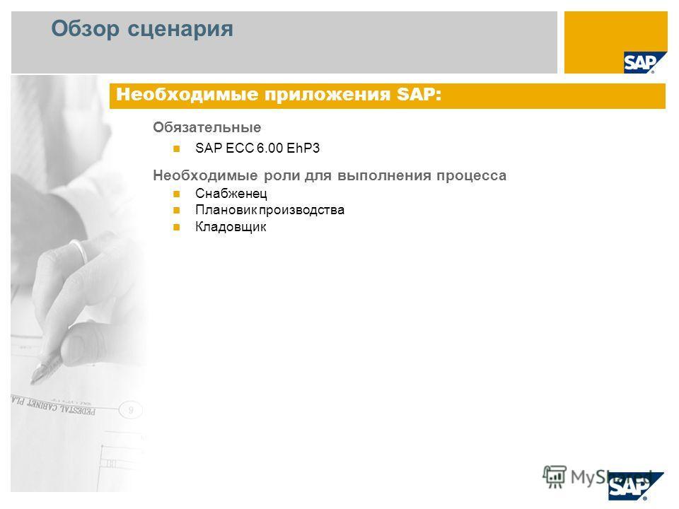 Обзор сценария Обязательные SAP ECC 6.00 EhP3 Необходимые роли для выполнения процесса Снабженец Плановик производства Кладовщик Необходимые приложения SAP: