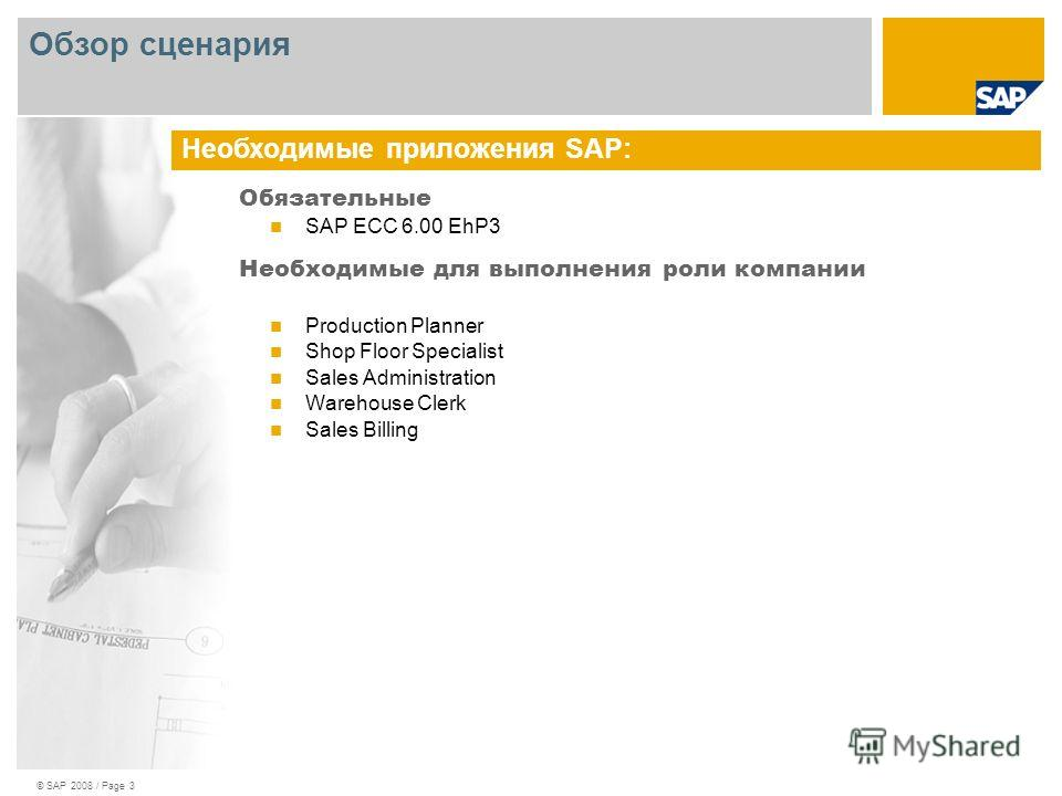 © SAP 2008 / Page 3 Обязательные SAP ECC 6.00 EhP3 Необходимые для выполнения роли компании Production Planner Shop Floor Specialist Sales Administration Warehouse Clerk Sales Billing Необходимые приложения SAP: Обзор сценария
