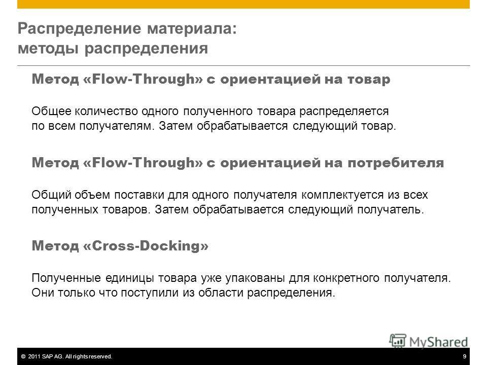 ©2011 SAP AG. All rights reserved.9 Распределение материала: методы распределения Метод «Flow-Through» с ориентацией на товар Общее количество одного полученного товара распределяется по всем получателям. Затем обрабатывается следующий товар. Метод «
