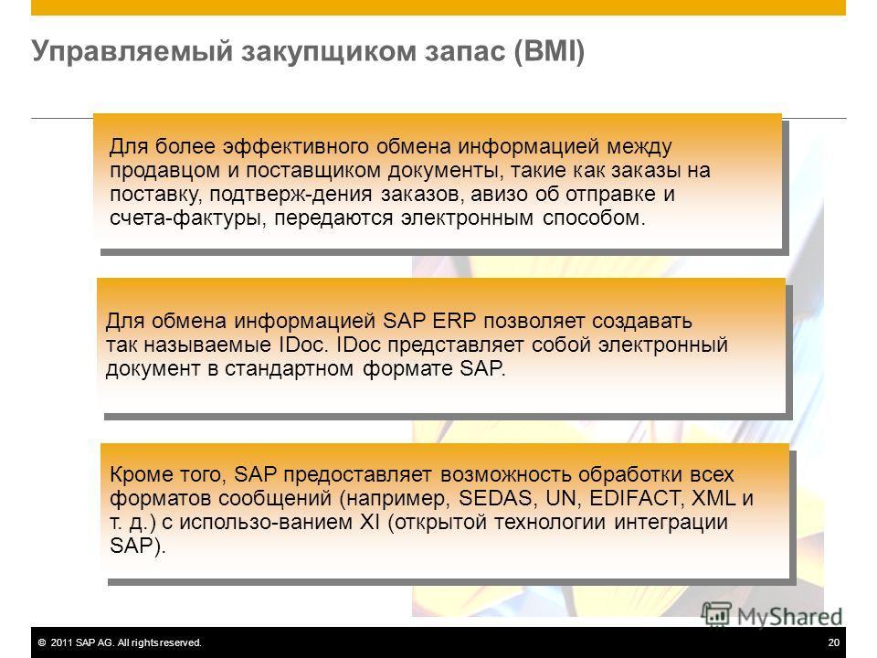 ©2011 SAP AG. All rights reserved.20 Управляемый закупщиком запас (BMI) Для обмена информацией SAP ERP позволяет создавать так называемые IDoc. IDoc представляет собой электронный документ в стандартном формате SAP. Кроме того, SAP предоставляет возм