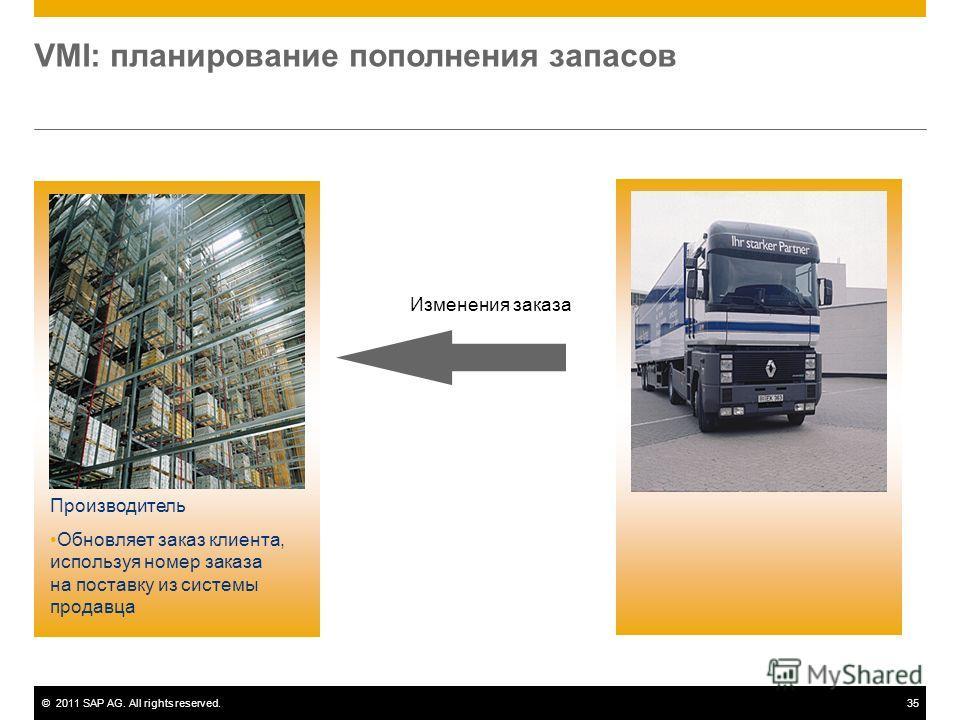 ©2011 SAP AG. All rights reserved.35 VMI: планирование пополнения запасов Производитель Обновляет заказ клиента, используя номер заказа на поставку из системы продавца Изменения заказа