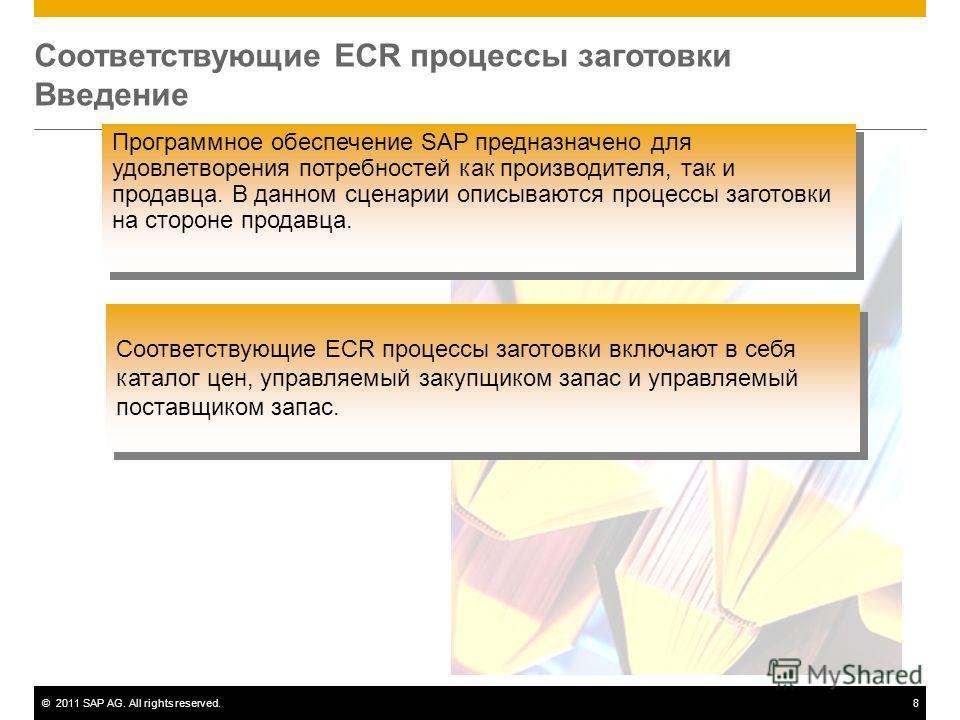 ©2011 SAP AG. All rights reserved.8 Соответствующие ECR процессы заготовки Введение Программное обеспечение SAP предназначено для удовлетворения потребностей как производителя, так и продавца. В данном сценарии описываются процессы заготовки на сторо