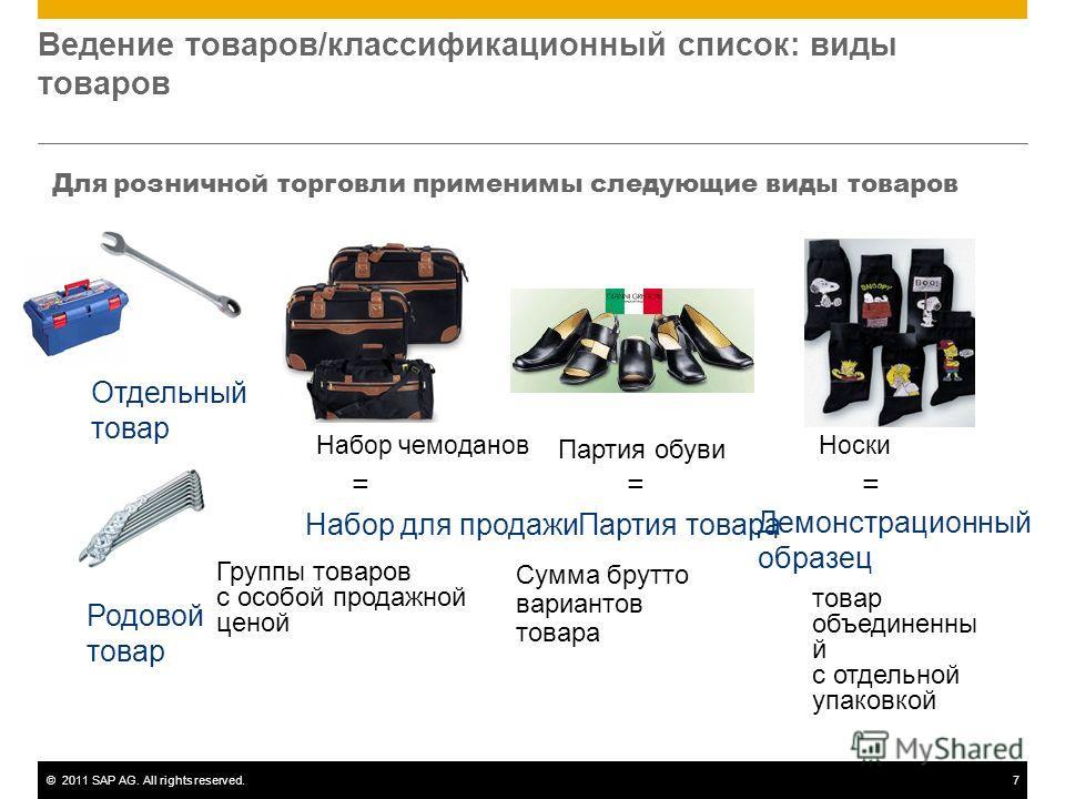 ©2011 SAP AG. All rights reserved.7 Ведение товаров/классификационный список: виды товаров Для розничной торговли применимы следующие виды товаров Партия обуви = Партия товара Сумма брутто вариантов товара Родовой товар Отдельный товар Набор чемодано