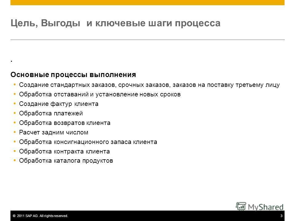 ©2011 SAP AG. All rights reserved.3 Цель, Выгоды и ключевые шаги процесса. Основные процессы выполнения Создание стандартных заказов, срочных заказов, заказов на поставку третьему лицу Обработка отставаний и установление новых сроков Создание фактур