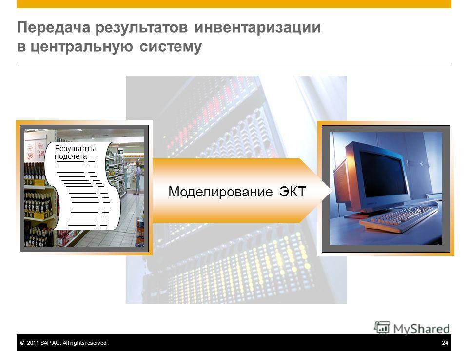 ©2011 SAP AG. All rights reserved.24 Передача результатов инвентаризации в центральную систему Моделирование ЭКТ Результаты подсчета