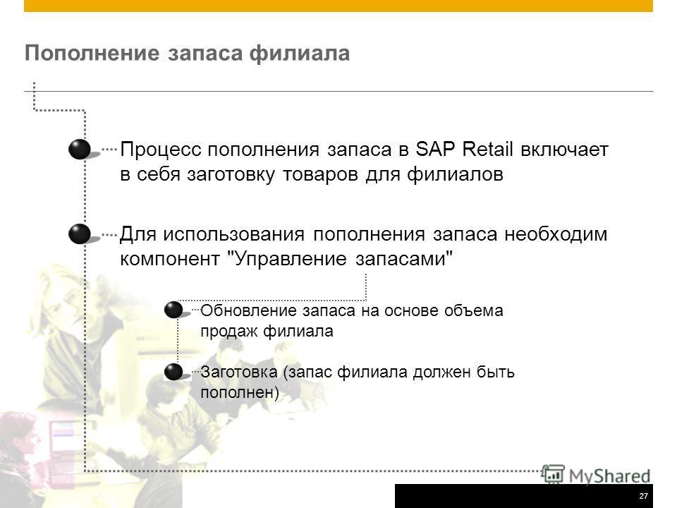 ©2011 SAP AG. All rights reserved.27 Пополнение запаса филиала Процесс пополнения запаса в SAP Retail включает в себя заготовку товаров для филиалов Для использования пополнения запаса необходим компонент