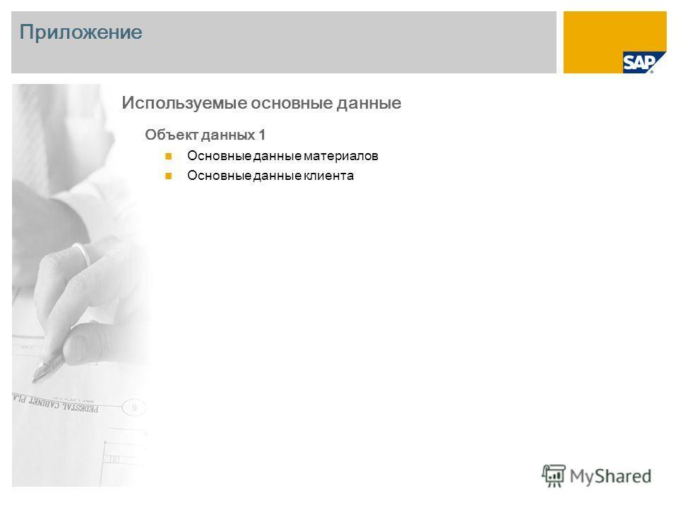 Приложение Объект данных 1 Основные данные материалов Основные данные клиента Используемые основные данные