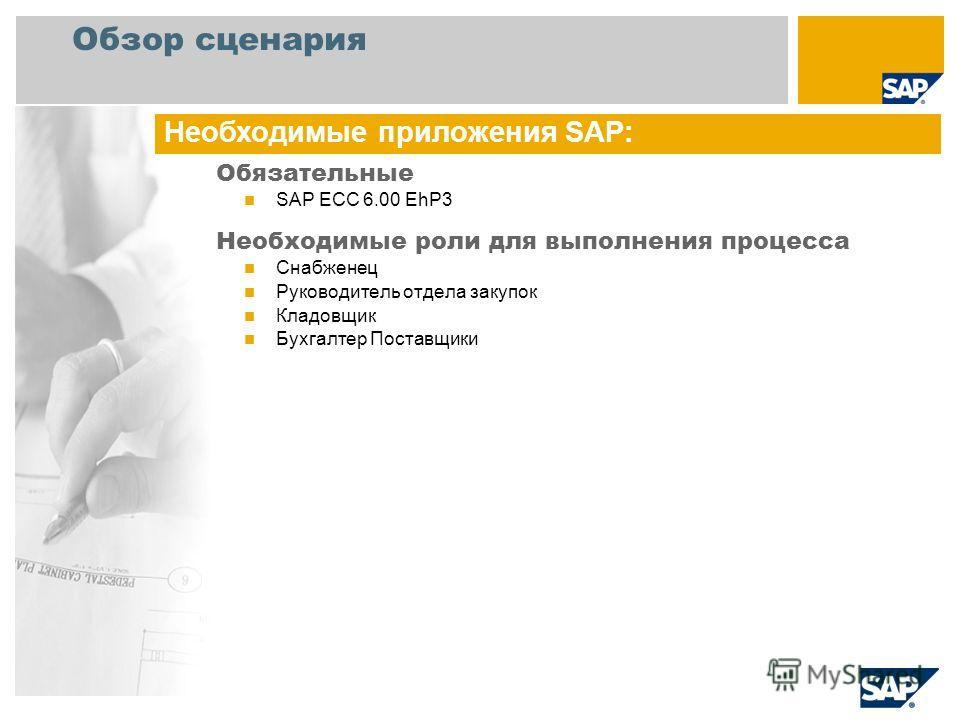 Обзор сценария Обязательные SAP ECC 6.00 EhP3 Необходимые роли для выполнения процесса Снабженец Руководитель отдела закупок Кладовщик Бухгалтер Поставщики Необходимые приложения SAP: