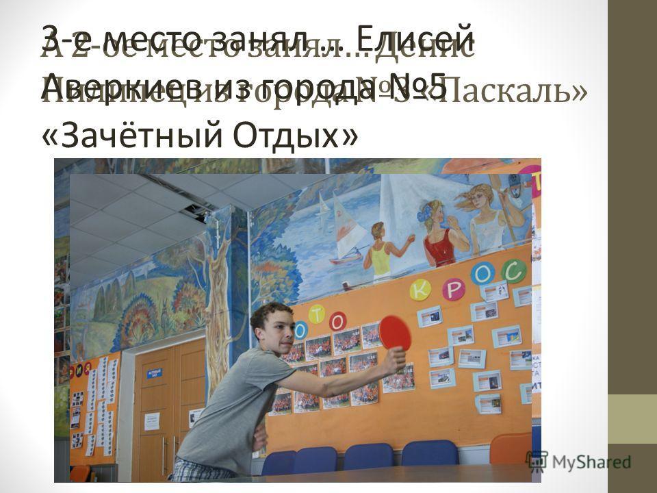 А 2-ое место занял… Денис Пилипец из города 3 «Паскаль» 3-е место занял … Елисей Аверкиев из города 5 «Зачётный Отдых»