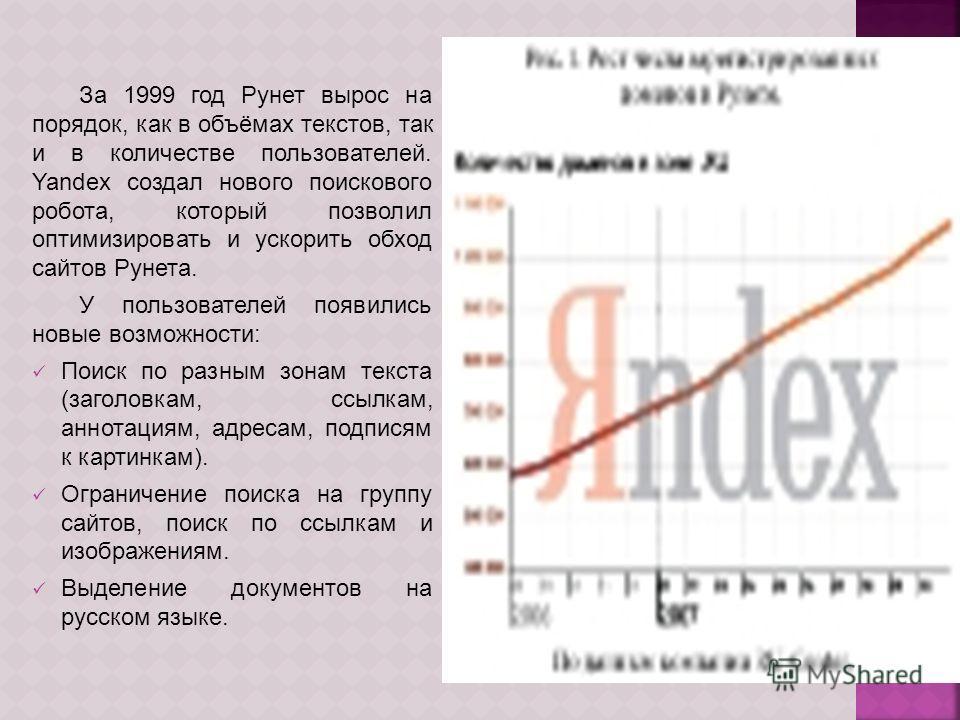 За 1999 год Рунет вырос на порядок, как в объёмах текстов, так и в количестве пользователей. Yandex создал нового поискового робота, который позволил оптимизировать и ускорить обход сайтов Рунета. У пользователей появились новые возможности: Поиск по