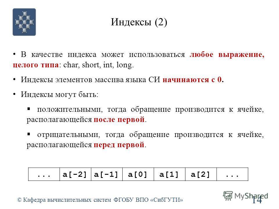 Индексы (2) © Кафедра вычислительных систем ФГОБУ ВПО «СибГУТИ» 14 В качестве индекса может использоваться любое выражение, целого типа: char, short, int, long. Индексы элементов массива языка СИ начинаются с 0. Индексы могут быть: положительными, то