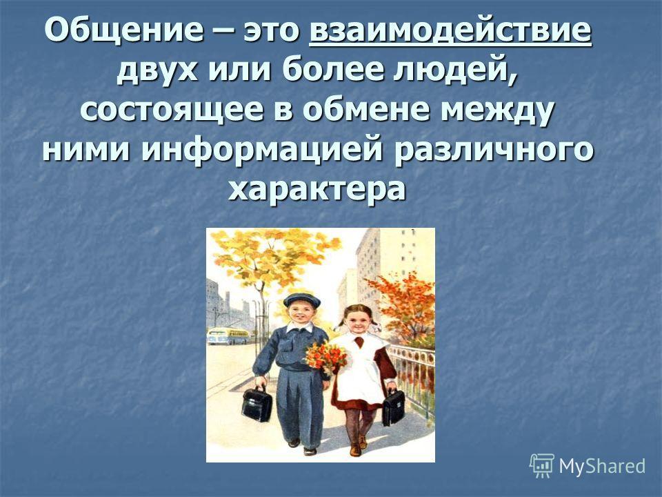 Общение – это взаимодействие двух или более людей, состоящее в обмене между ними информацией различного характера