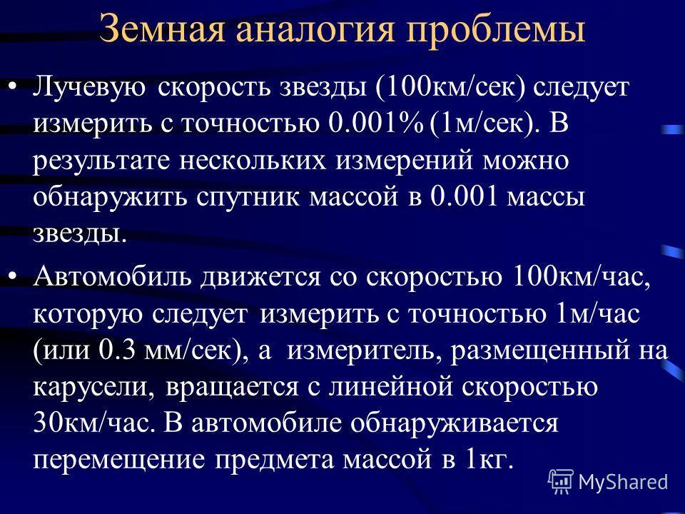Земная аналогия проблемы Лучевую скорость звезды (100км/сек) следует измерить с точностью 0.001% (1м/сек). В результате нескольких измерений можно обнаружить спутник массой в 0.001 массы звезды. Автомобиль движется со скоростью 100км/час, которую сле