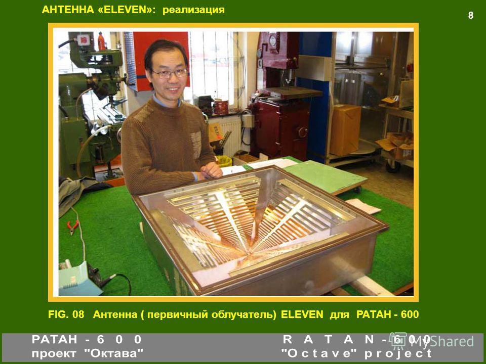 FIG. 08 8 FIG. 08 Антенна ( первичный облучатель) ELEVEN для РАТАН - 600 АНТЕННА «ELEVEN»: реализация