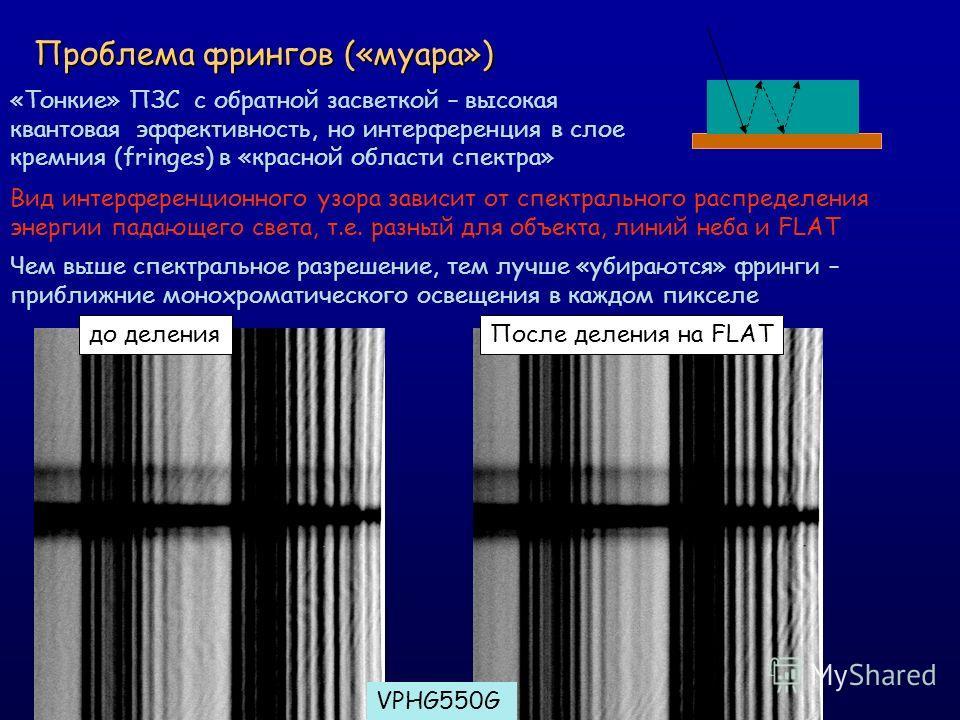 Проблема фрингов («муара») «Тонкие» ПЗС c обратной засветкой – высокая квантовая эффективность, но интерференция в слое кремния (fringes) в «красной области спектра» Вид интерференционного узора зависит от спектрального распределения энергии падающег