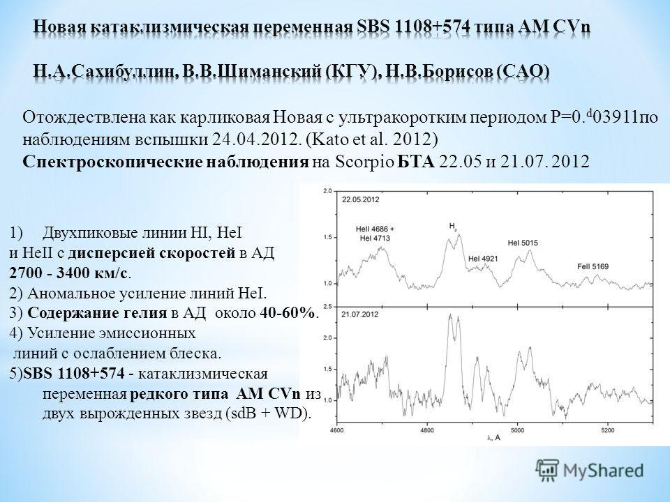 Отождествлена как карликовая Новая с ультракоротким периодом P=0. d 03911по наблюдениям вспышки 24.04.2012. (Kato et al. 2012) Спектроскопические наблюдения на Scorpio БТА 22.05 и 21.07. 2012 1)Двухпиковые линии HI, HeI и HeII с дисперсией скоростей
