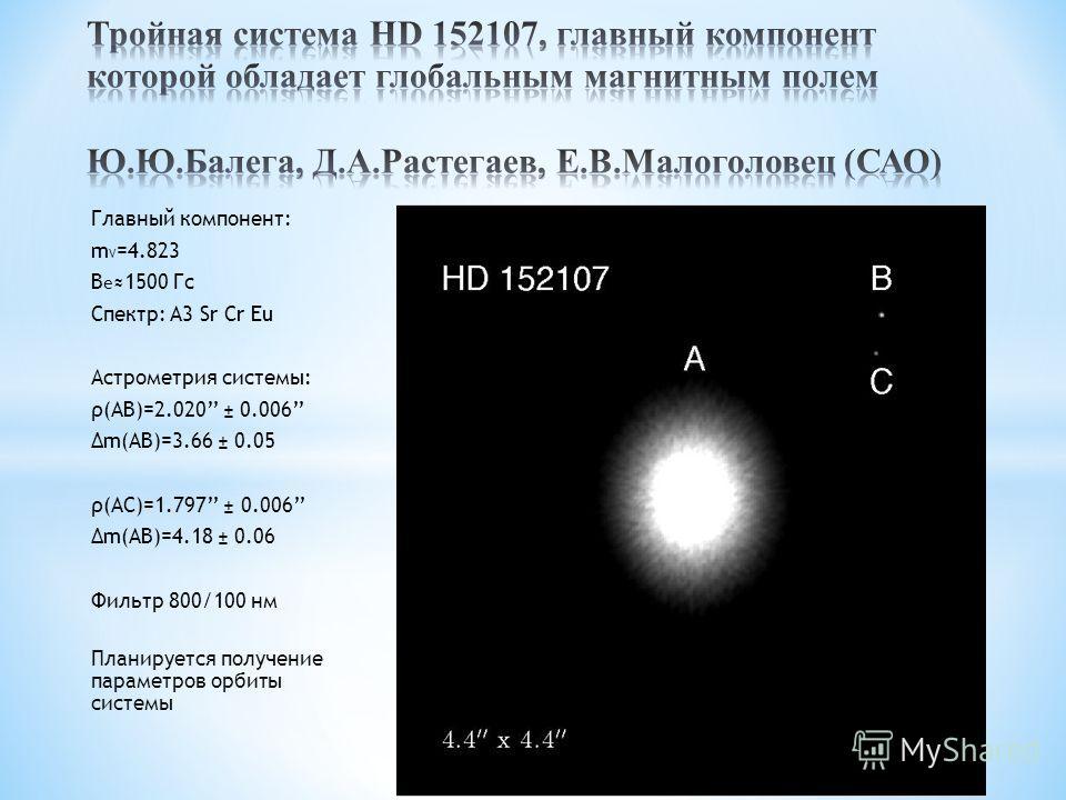Главный компонент: m V =4.823 B e 1500 Гс Спектр: A3 Sr Cr Eu Астрометрия системы: ρ(AB)=2.020 ± 0.006 Δm(AB)=3.66 ± 0.05 ρ(AC)=1.797 ± 0.006 Δm(AB)=4.18 ± 0.06 Фильтр 800/100 нм Планируется получение параметров орбиты системы