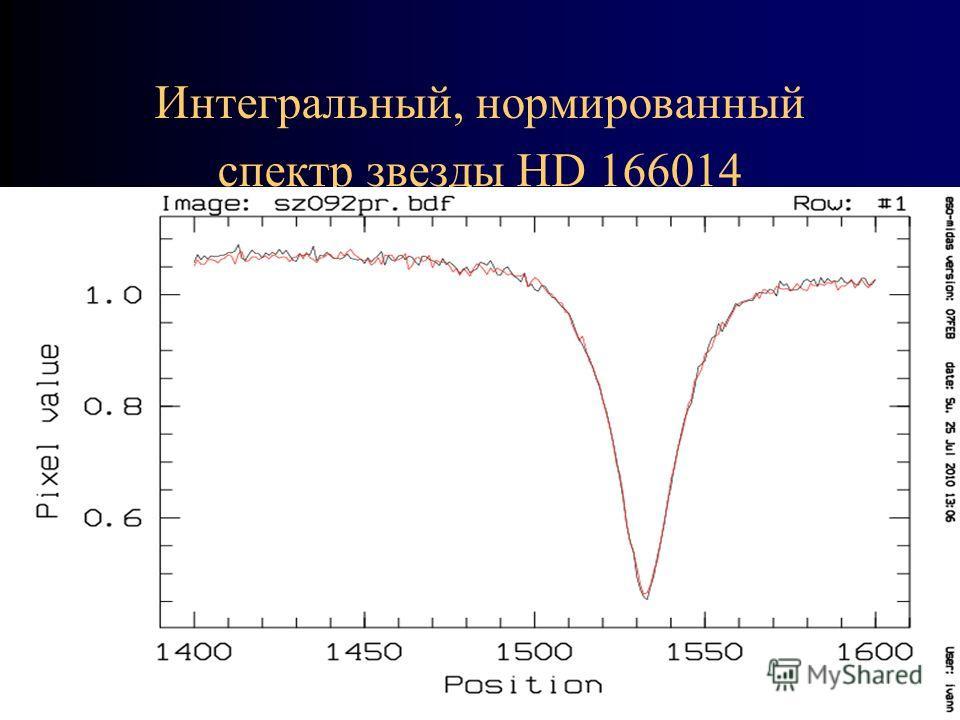 Интегральный, нормированный спектр звезды HD 166014