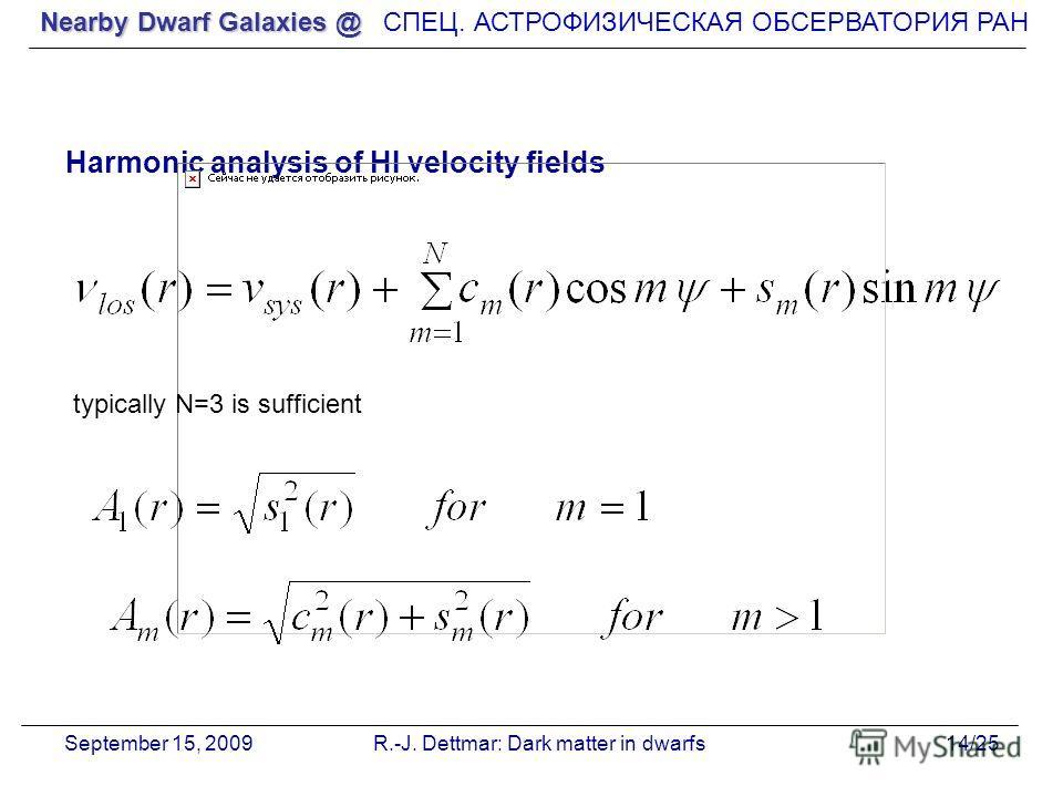 Nearby Dwarf Galaxies @ СПЕЦ. АСТРОФИЗИЧЕСКАЯ О Б СЕРВАТОРИЯ РАН September 15, 2009R.-J. Dettmar: Dark matter in dwarfs14/25 Harmonic analysis of HI velocity fields typically N=3 is sufficient