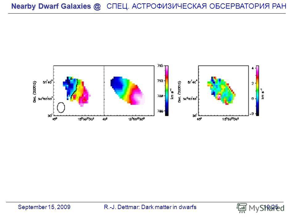 Nearby Dwarf Galaxies @ СПЕЦ. АСТРОФИЗИЧЕСКАЯ О Б СЕРВАТОРИЯ РАН September 15, 2009R.-J. Dettmar: Dark matter in dwarfs19/25