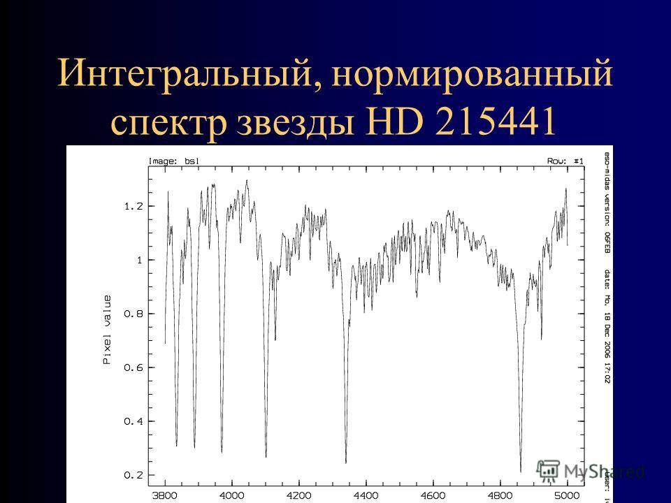 Интегральный, нормированный спектр звезды HD 215441