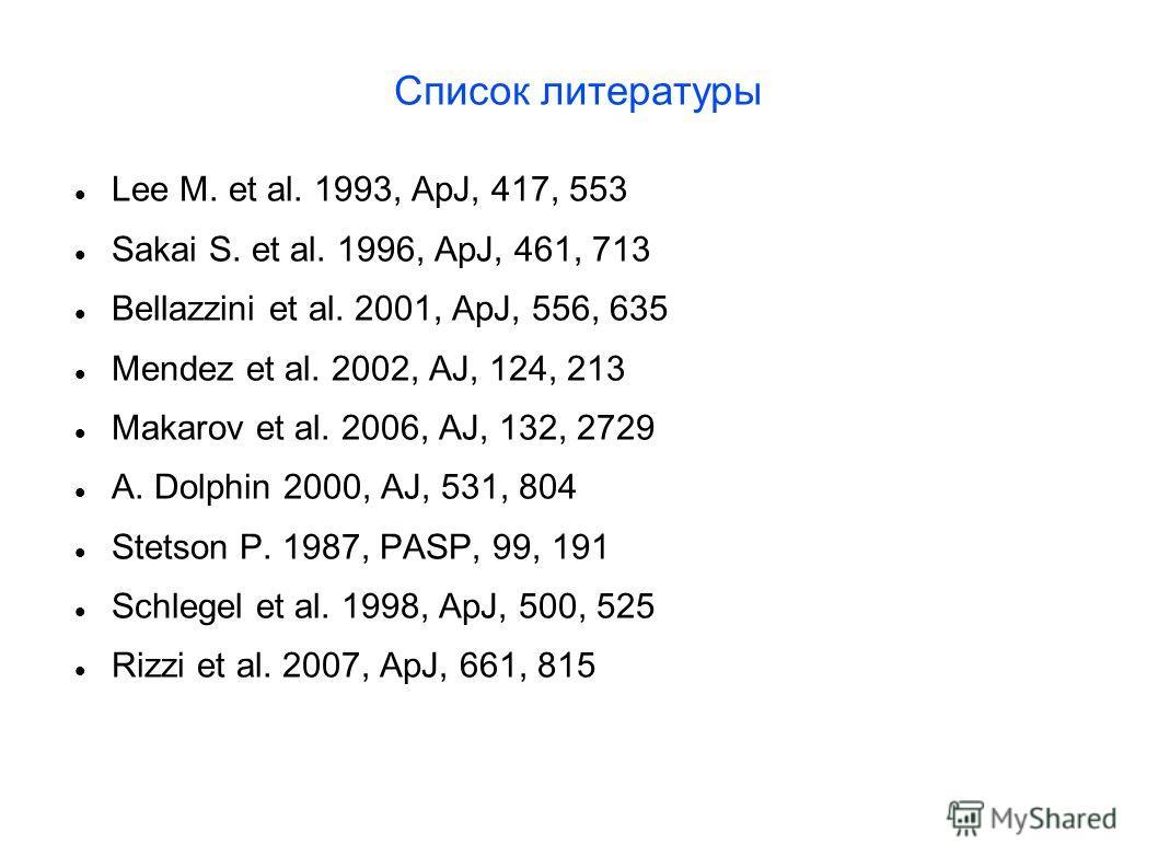Список литературы Lee M. et al. 1993, ApJ, 417, 553 Sakai S. et al. 1996, ApJ, 461, 713 Bellazzini et al. 2001, ApJ, 556, 635 Mendez et al. 2002, AJ, 124, 213 Makarov et al. 2006, AJ, 132, 2729 A. Dolphin 2000, AJ, 531, 804 Stetson P. 1987, PASP, 99,
