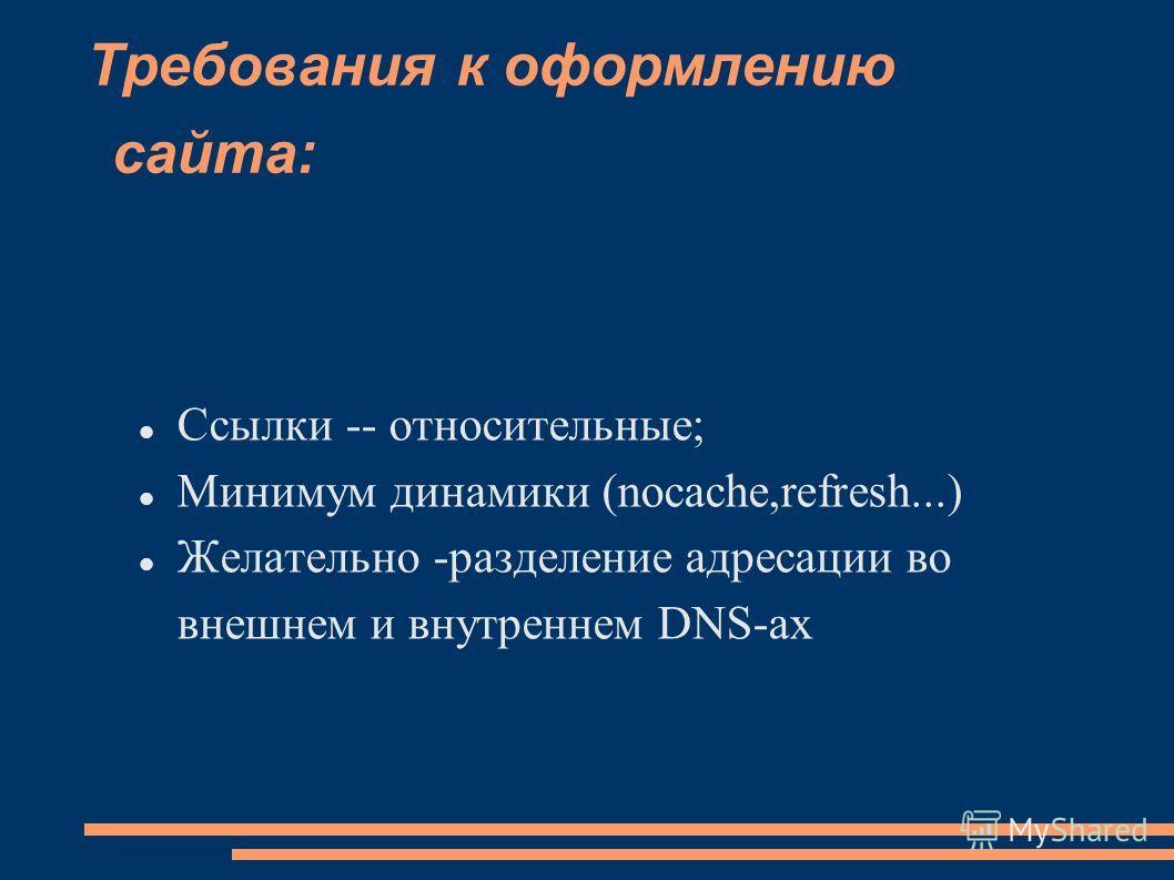 Требования к оформлению сайта: Ссылки -- относительные; Минимум динамики (nocache,refresh...) Желательно -разделение адресации во внешнем и внутреннем DNS-ах