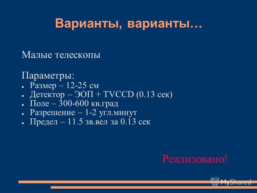 Варианты, варианты… Малые телескопы Параметры: Размер – 12-25 см Детектор – ЭОП + TVCCD (0.13 сек) Поле – 300-600 кв.град Разрешение – 1-2 угл.минут Предел – 11.5 зв.вел за 0.13 сек Реализовано!