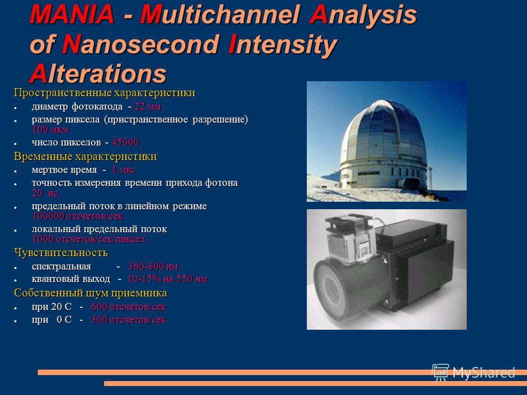 MANIA - Multichannel Analysis of Nanosecond Intensity Alterations Пространственные характеристики диаметр фотокатода - 22 мм диаметр фотокатода - 22 мм размер пиксела (пристранственное разрешение) 100 мкм размер пиксела (пристранственное разрешение)