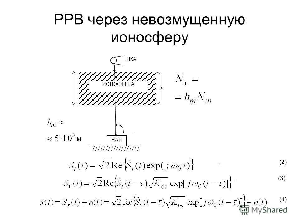 РРВ через невозмущенную ионосферу НАП ИОНОСФЕРА НКА, (2). (3). (4)