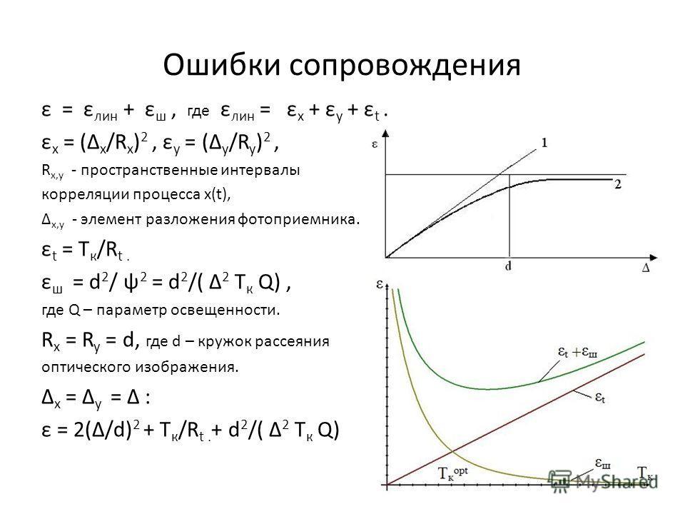 Ошибки сопровождения ε = ε лин + ε ш, где ε лин = ε x + ε y + ε t. ε x = (Δ x /R x ) 2, ε y = (Δ y /R y ) 2, R x,y - пространственные интервалы корреляции процесса x(t), Δ x,y - элемент разложения фотоприемника. ε t = T к /R t. ε ш = d 2 / ψ 2 = d 2